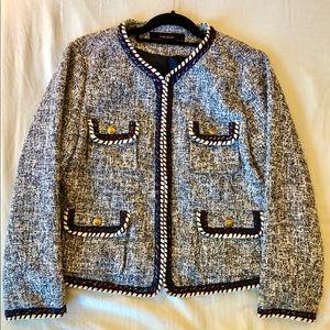 Zara Tweed Jacket Blazer Blue Trim + Gold Buttons